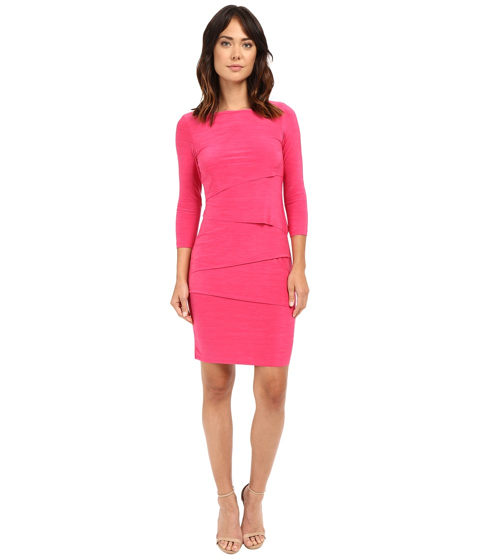 Tahari by ASL - Long Sleeve Melange Jersey Tiered Body Dress (Peony) Women's Dress