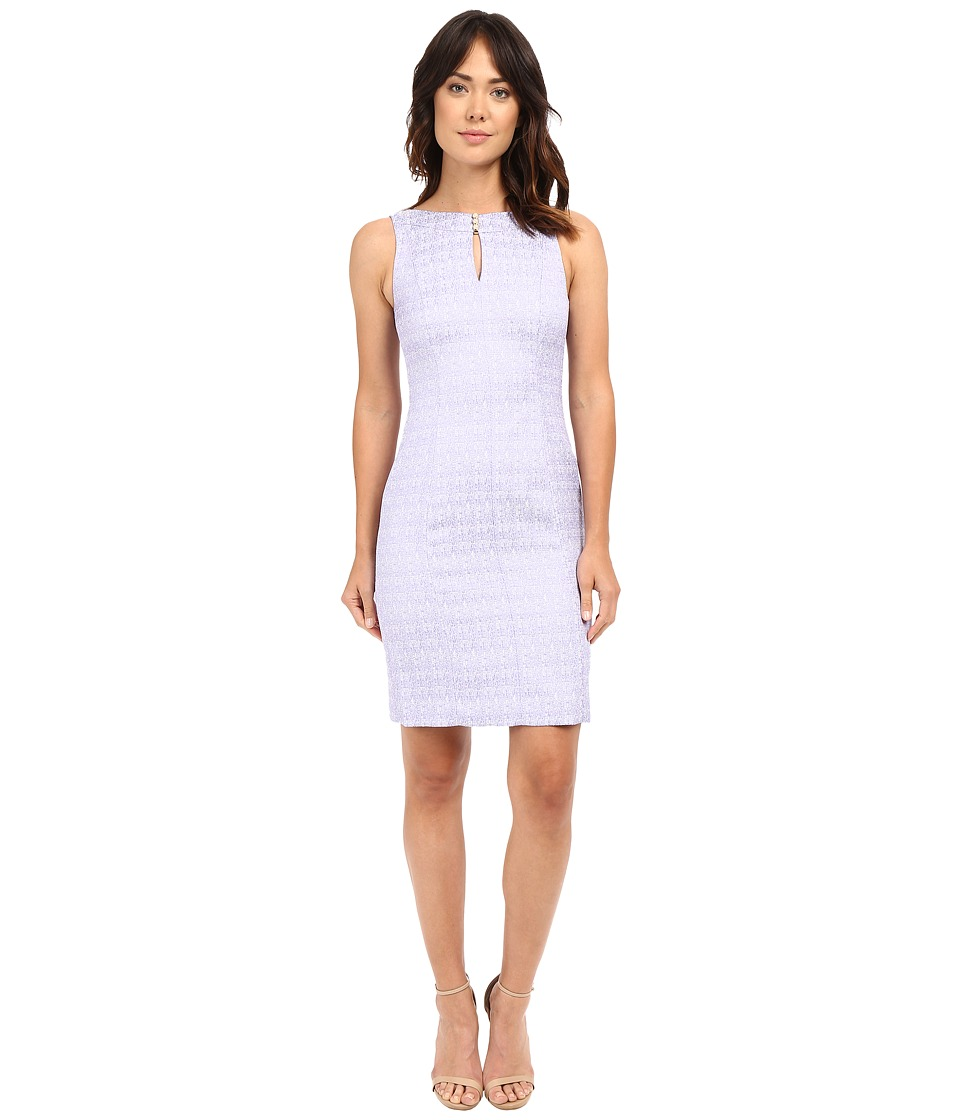 Tahari by ASL - Pearl Detail Dress w/ Cut Out Neckline Sheath (Lilac Purple/White) Women