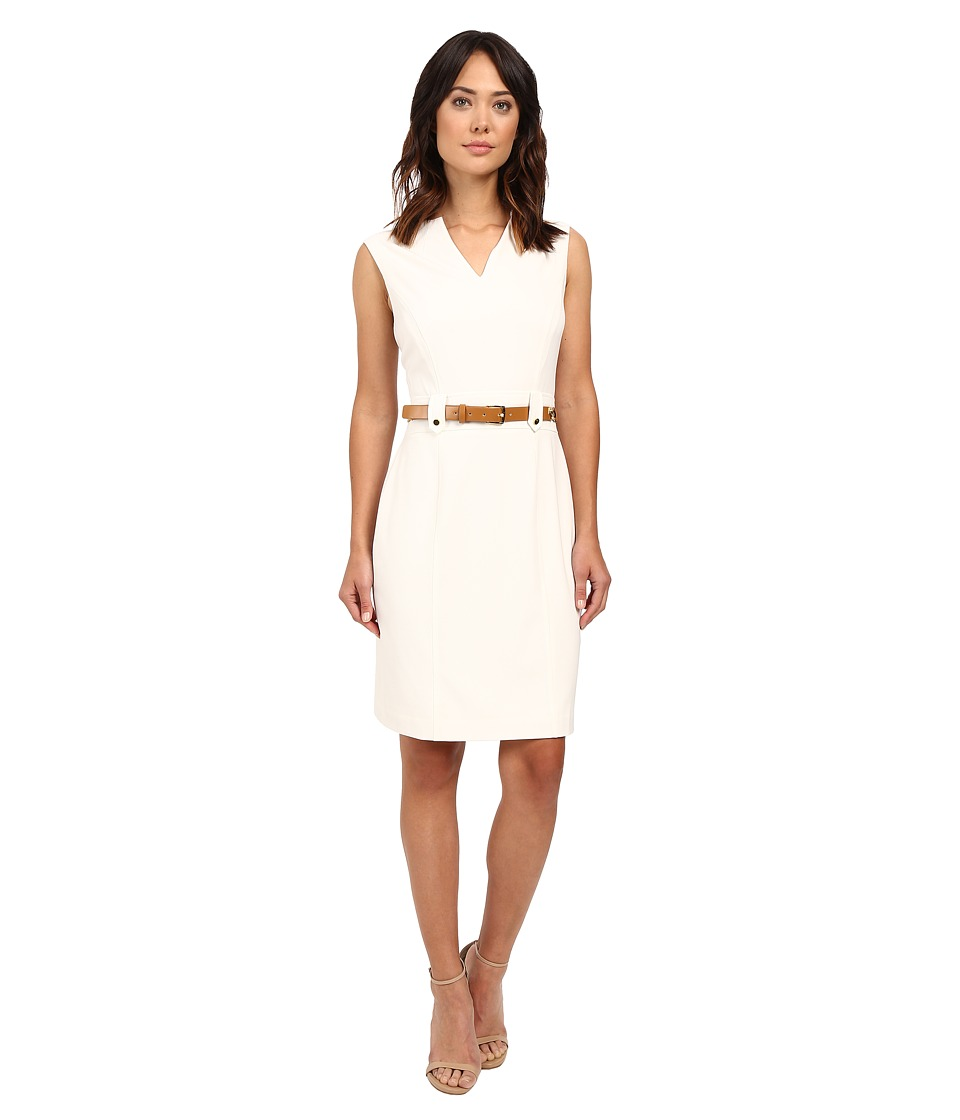 Tahari by ASL - V-Neck Sleeveless Sheath Dress w/ Waist Hardware (Ivory White) Women's Dress