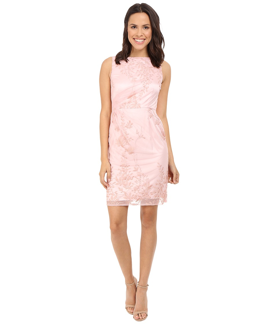 Tahari by ASL - Side Rouche Embroidered Lace Sheath Dress (Pink Lemonade) Women's Dress