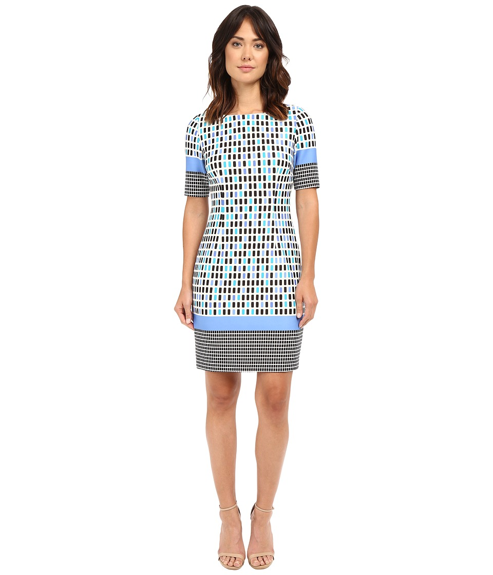 Tahari by ASL - Short Sleeve Scuba Box-Print Sheath (Ivory/Blue/Black) Women's Dress