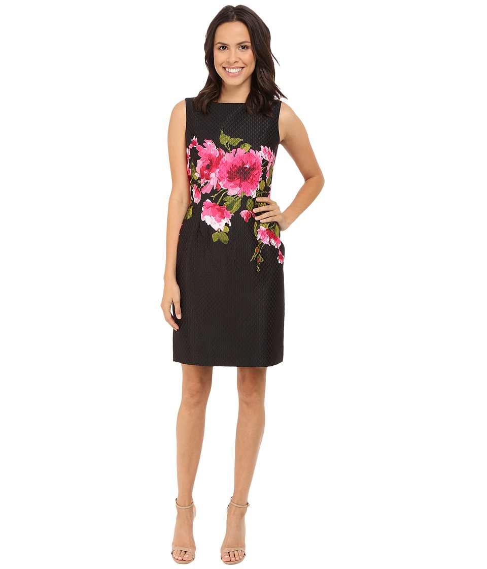 Tahari by ASL - Jacquard Sleeveless Sheath Dress w/ Floral Print (Black/Fuchsia) Women's Dress