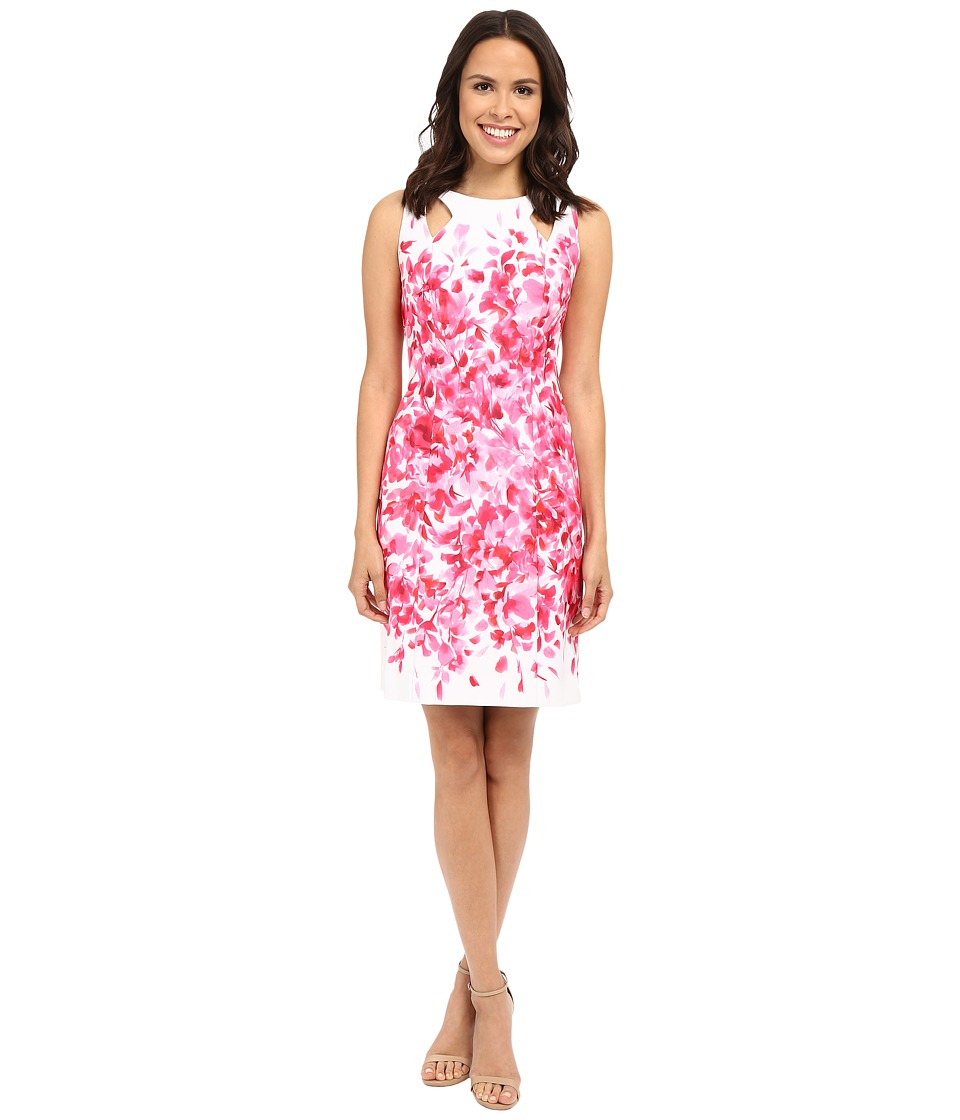 Tahari by ASL - Scuba Floral Sheath Dress w/ Shoulder Cut Outs (White/Peony) Women's Dress