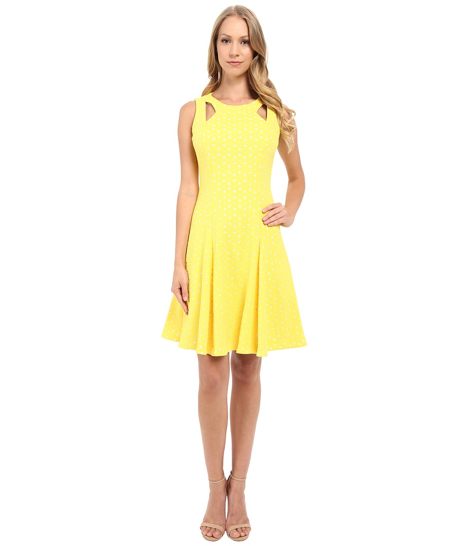 Tahari by ASL - Laser Cut Scuba A-Line Dress (Yellow) Women's Dress