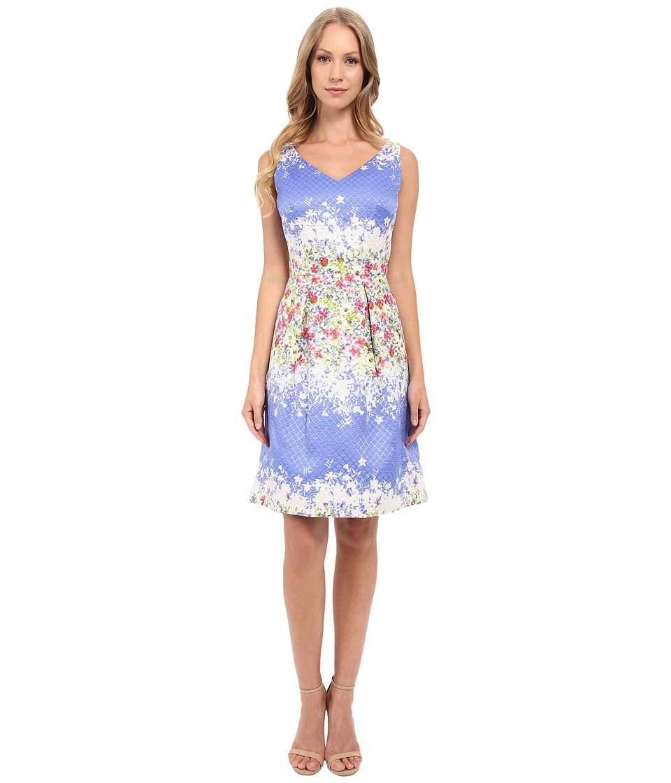 Tahari by ASL - V-Neck Sleeveless Fit-and-Flare Floral Print Dress (Periwinkle/Ivory/Magenta) Women's Dress