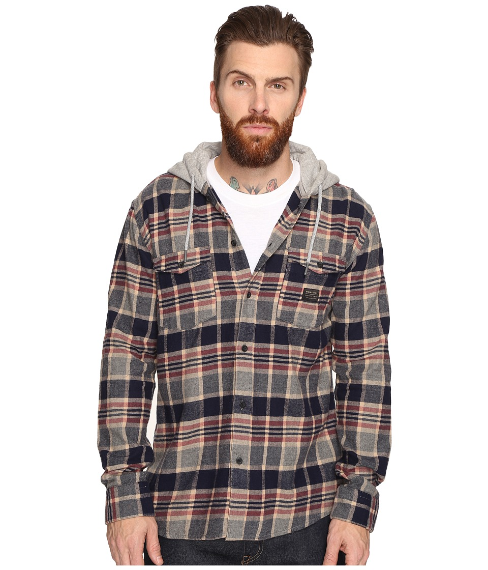 Quiksilver - Fellow Player Hooded Woven Button Up Flannel (Navy) Men's Clothing