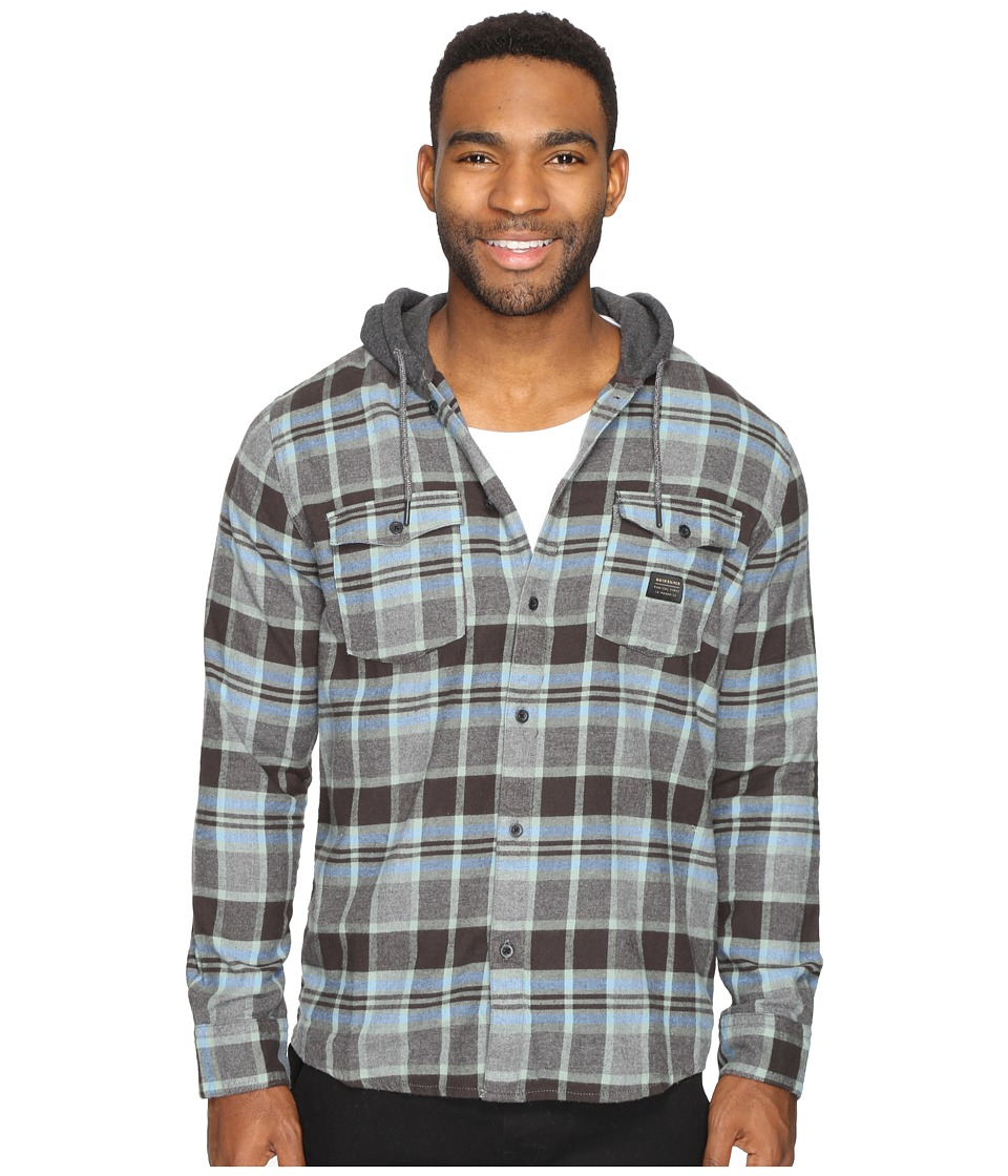 Quiksilver - Fellow Player Hooded Woven Button Up Flannel (Tarmac) Men's Clothing