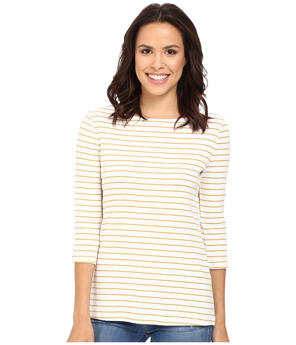 Three Dots - Betty Tunic 3/4 Sleeve (White/Turmeric) Women's Clothing