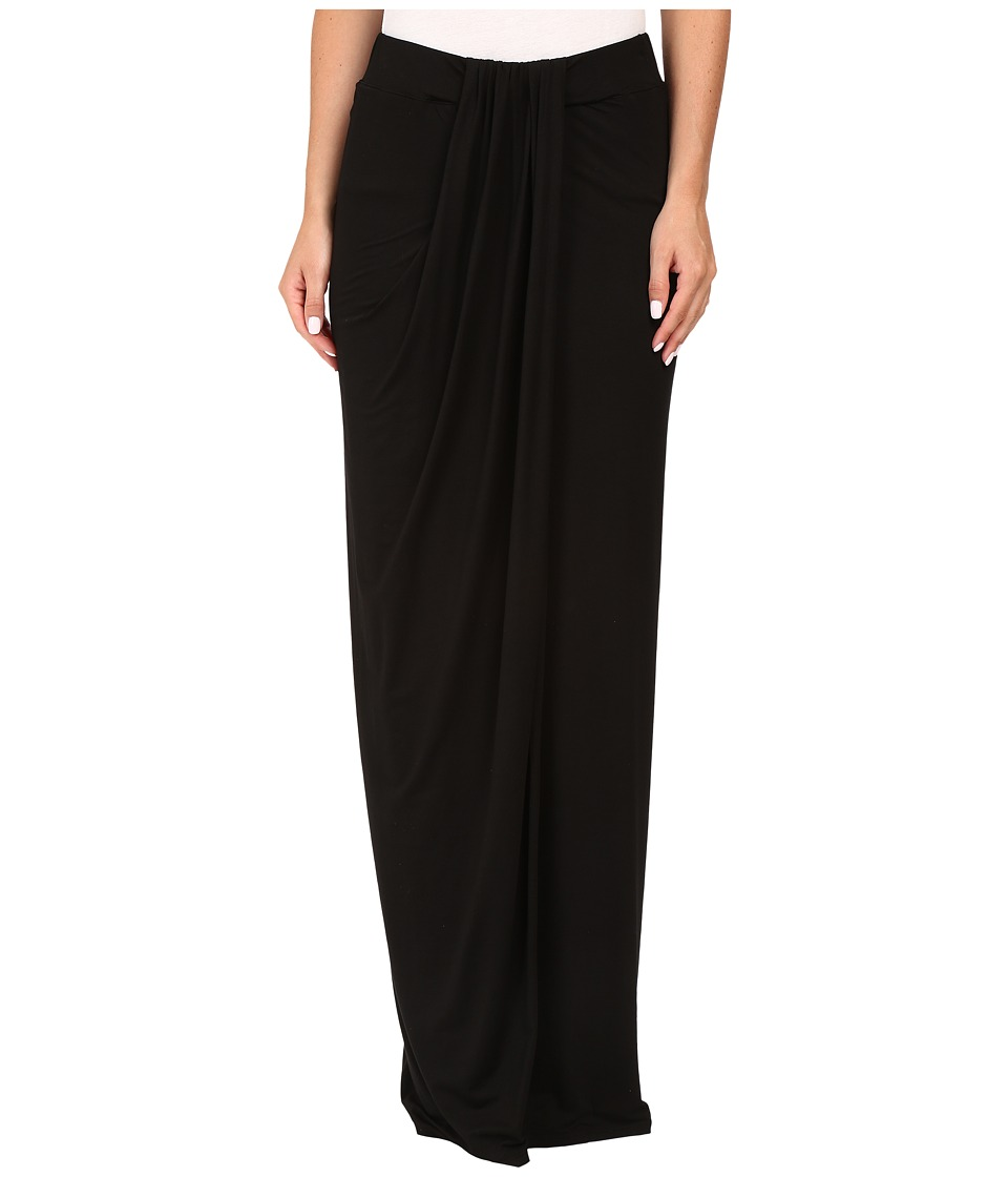 Three Dots Maxi Skirt w/ Drape (Black) Women