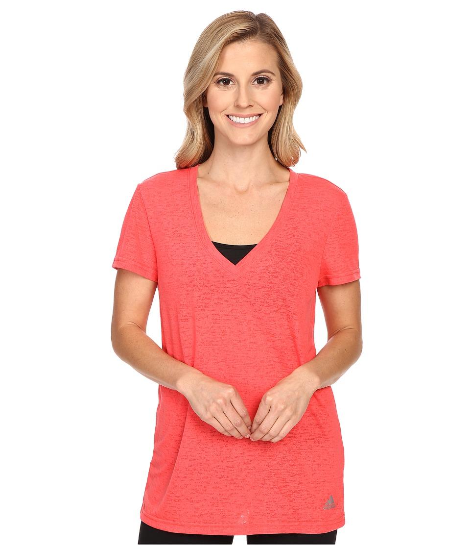 adidas - 247 Deep V Tee (Shock Red) Women's T Shirt