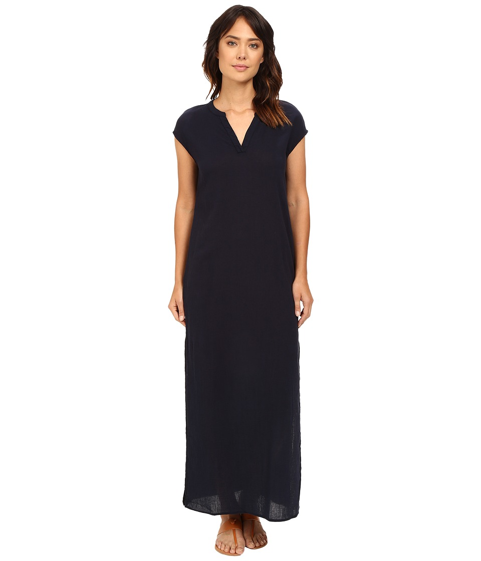 Three Dots Phi B Short Sleeve Long Dress (Night Iris) Women