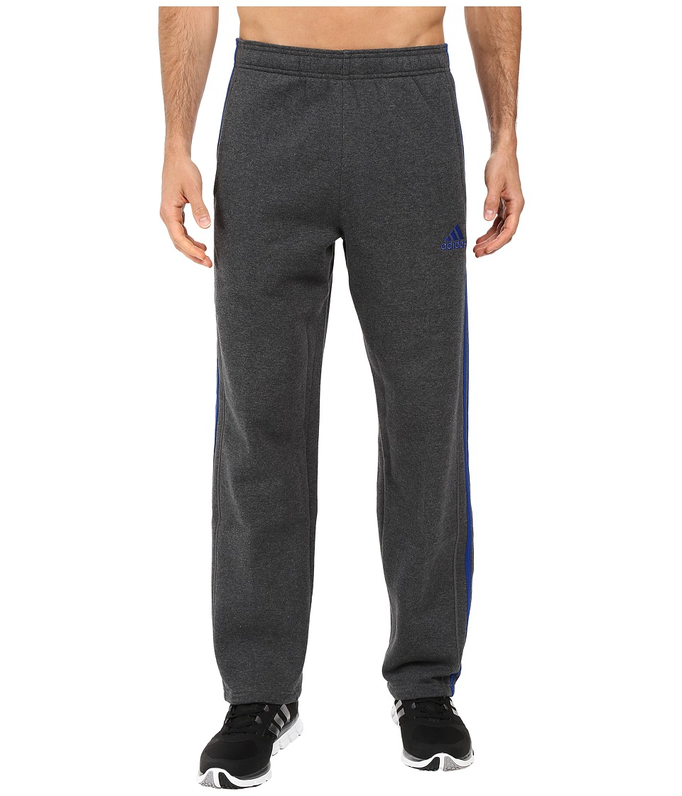 adidas - Essential Cotton Fleece Pants (Dark Grey Heather/Collegiate Royal Blue) Men