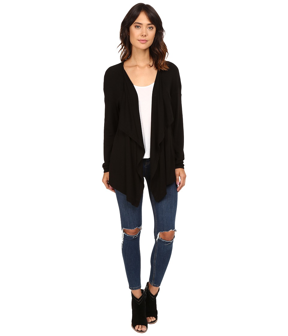 Three Dots - Luz Drapey Cardigan (Black) Women's Sweater
