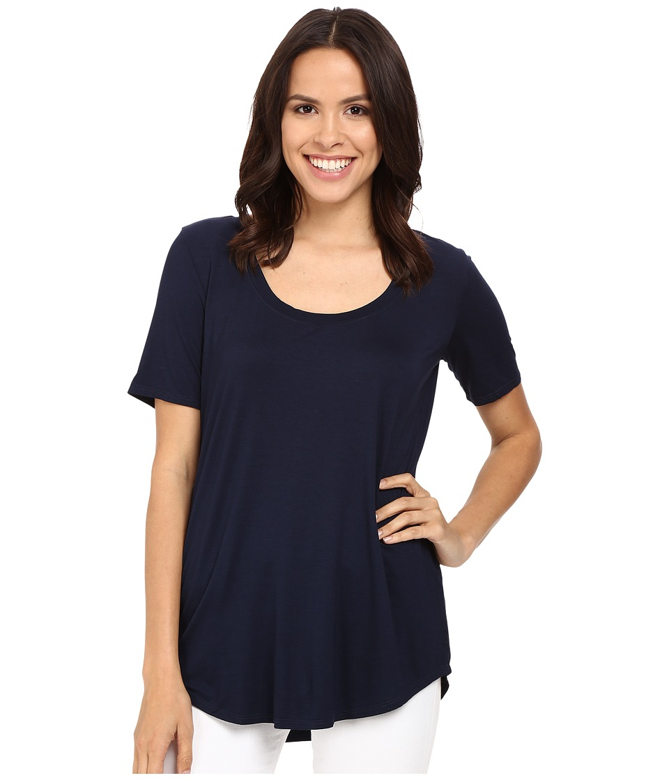 Three Dots - Evelyn Tee Tunic (Night Iris) Women's Short Sleeve Pullover