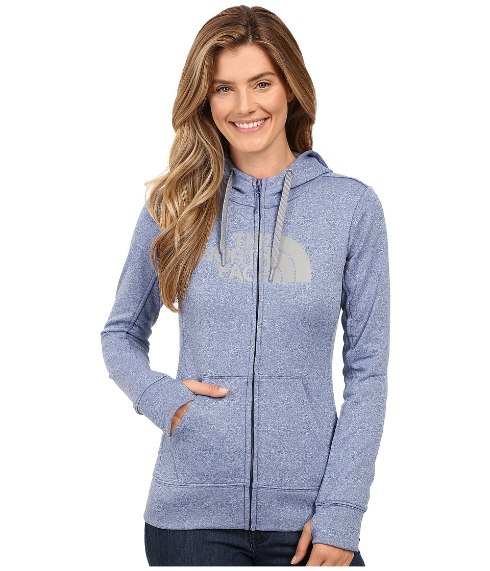 The North Face - Fave Half Dome Full-Zip Hoodie (Coastal Fjord Blue Heather/TNF Medium Grey Heather) Women's Sweatshirt