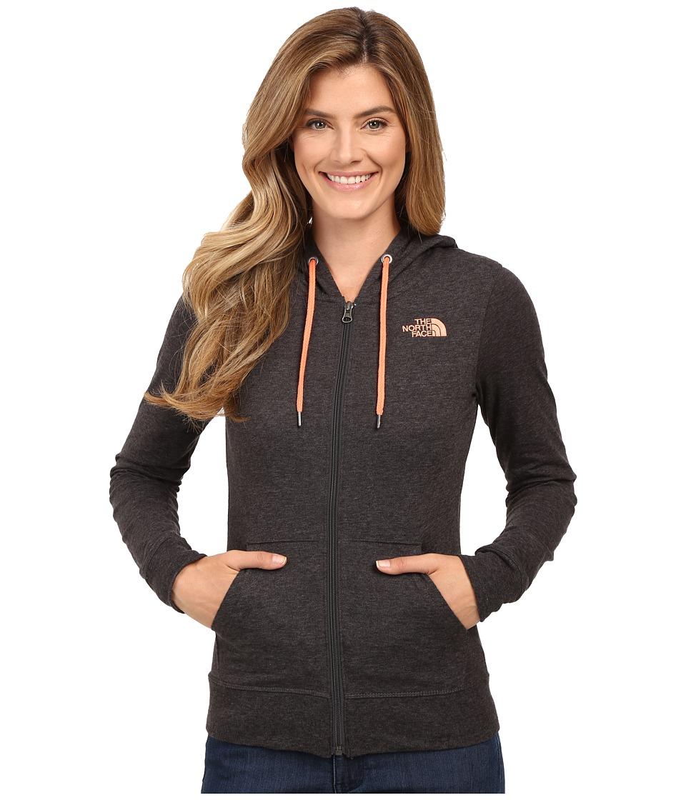 The North Face - Lite Weight Full Zip Hoodie (TNF Dark Grey Heather/Feather Orange) Women's Sweatshirt