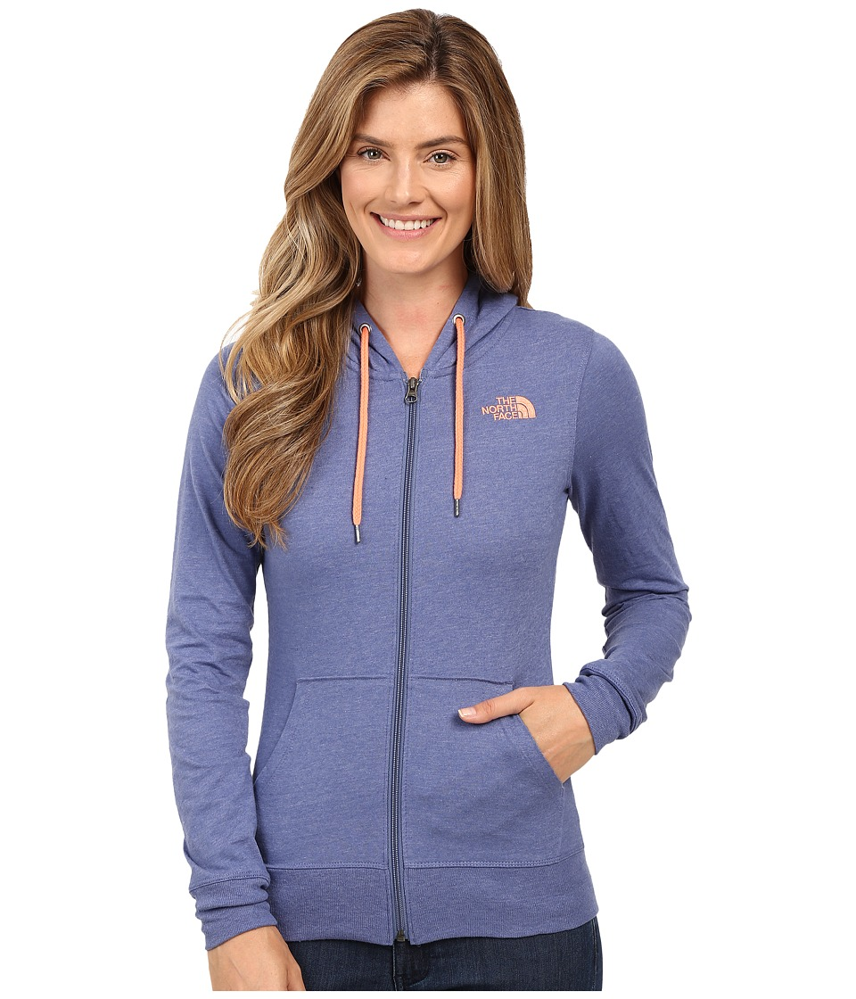 The North Face - Lite Weight Full Zip Hoodie (Coastal Fjord Blue Heather/Feather Orange) Women's Sweatshirt
