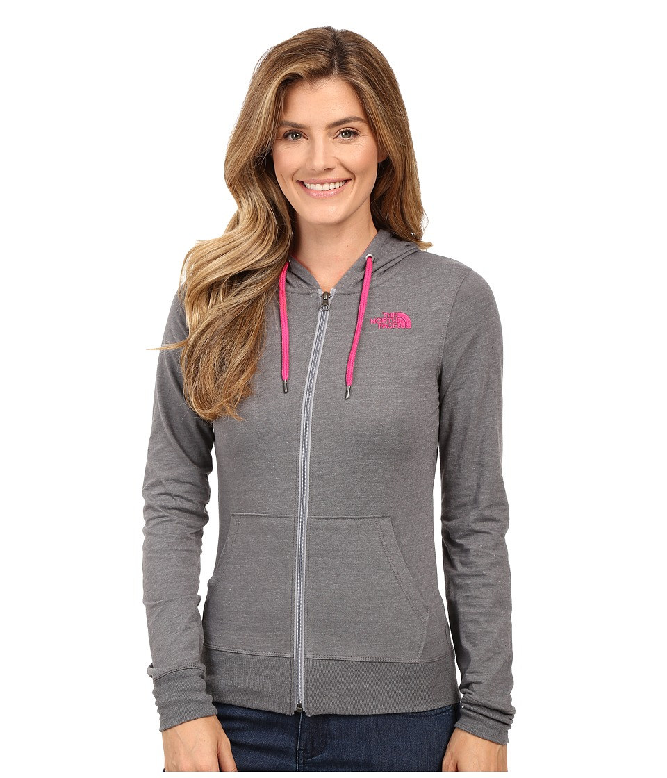 The North Face - Lite Weight Full Zip Hoodie (TNF Medium Grey Heather/Cabaret Pink) Women's Sweatshirt