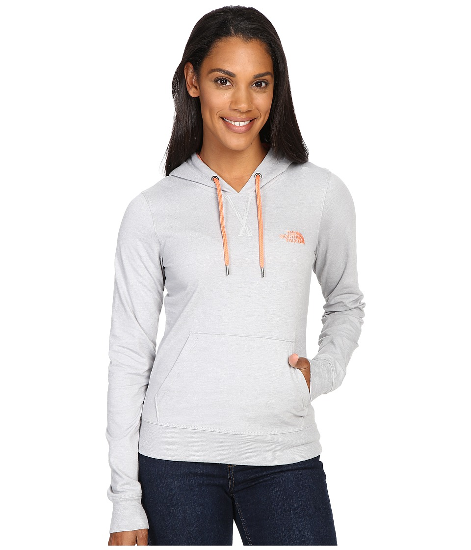 The North Face - Lite Weight Pullover Hoodie (TNF Light Grey Heather/Feather Orange) Women's Sweatshirt