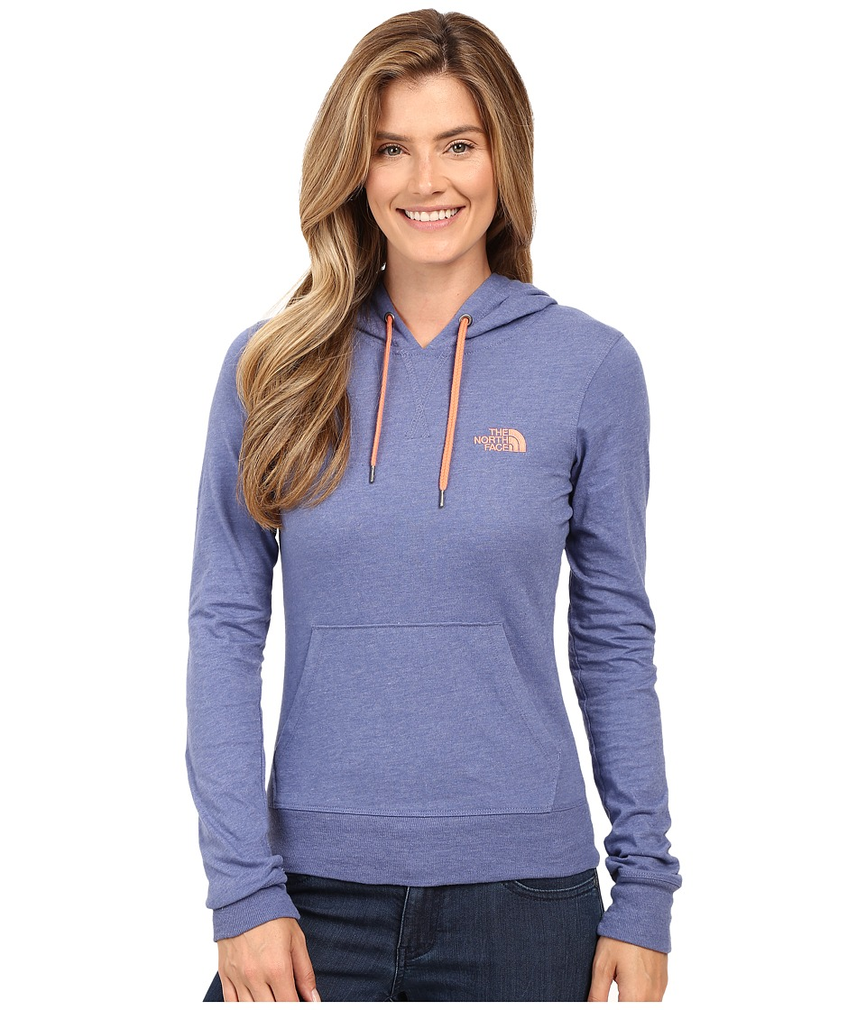 The North Face - Lite Weight Pullover Hoodie (Coastal Fjord Blue Heather/Feather Orange) Women's Sweatshirt