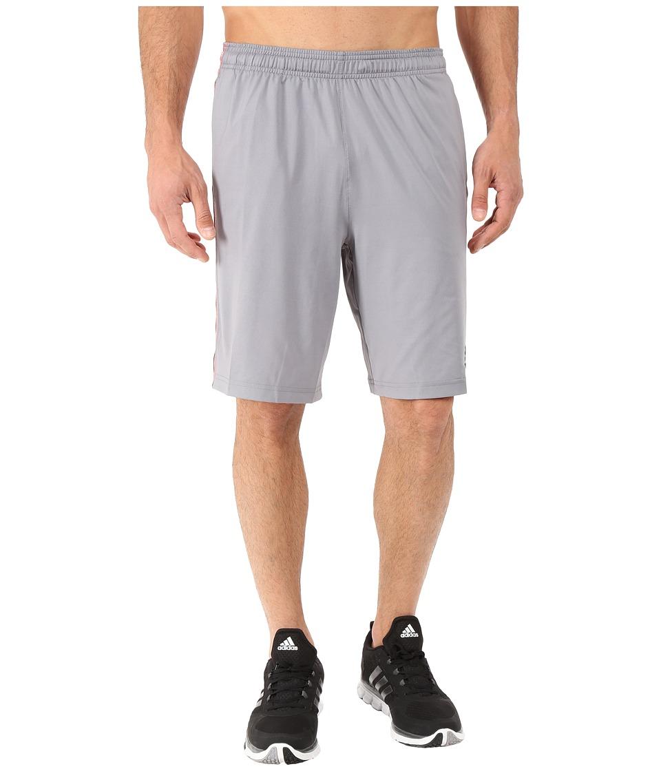 adidas - Team Issue 3-Stripes Shorts (Grey/Shock Red) Men's Shorts