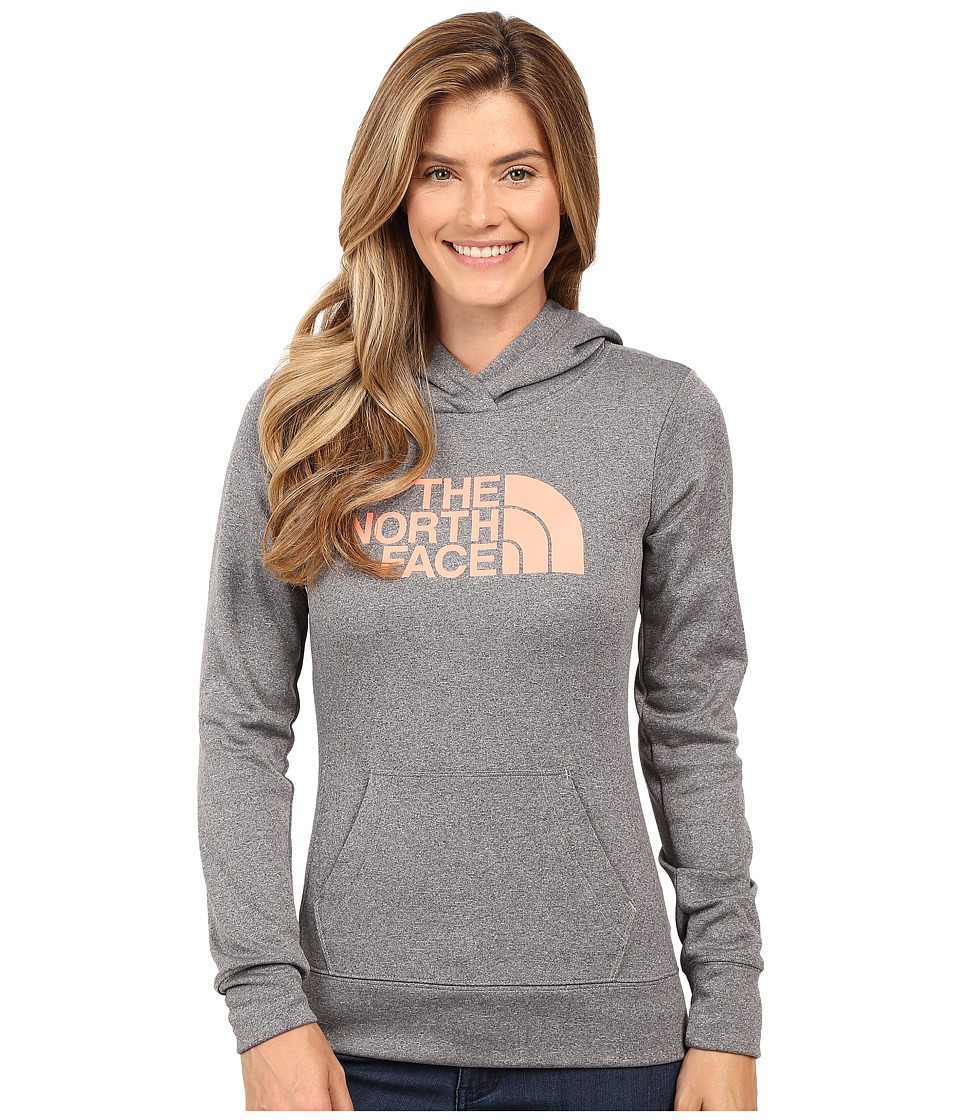 The North Face - Fave Pullover Hoodie (TNF Medium Grey Heather/Feather Orange) Women's Sweatshirt