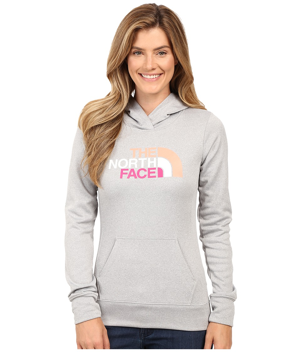 The North Face - Fave Pullover Hoodie (TNF Light Grey Heather/Feather Orange Multi) Women's Sweatshirt