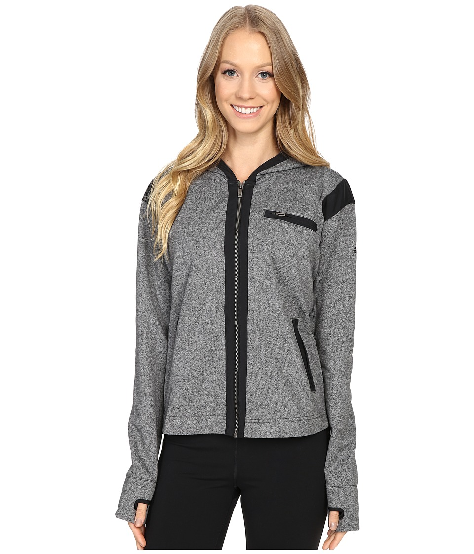 adidas - Street Full Zip Hoodie (Dark Grey Heather) Women's Sweatshirt