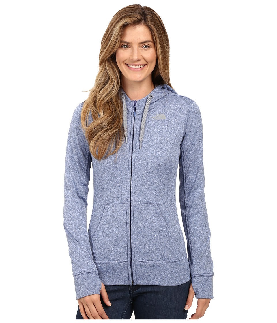 The North Face Fave Full-Zip Hoodie (Coastal Fjord Blue Heather/TNF Medium Grey Heather) Women