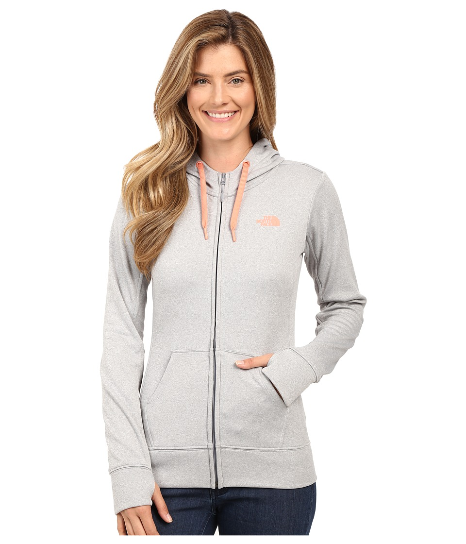 The North Face - Fave Full-Zip Hoodie (TNF Light Grey Heather/Feather Orange) Women's Sweatshirt