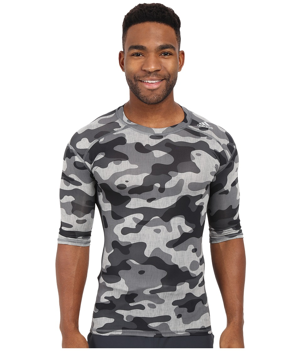 adidas - Techfit Base Layer Short Sleeve Tee (Medium Grey/Black) Men's T Shirt