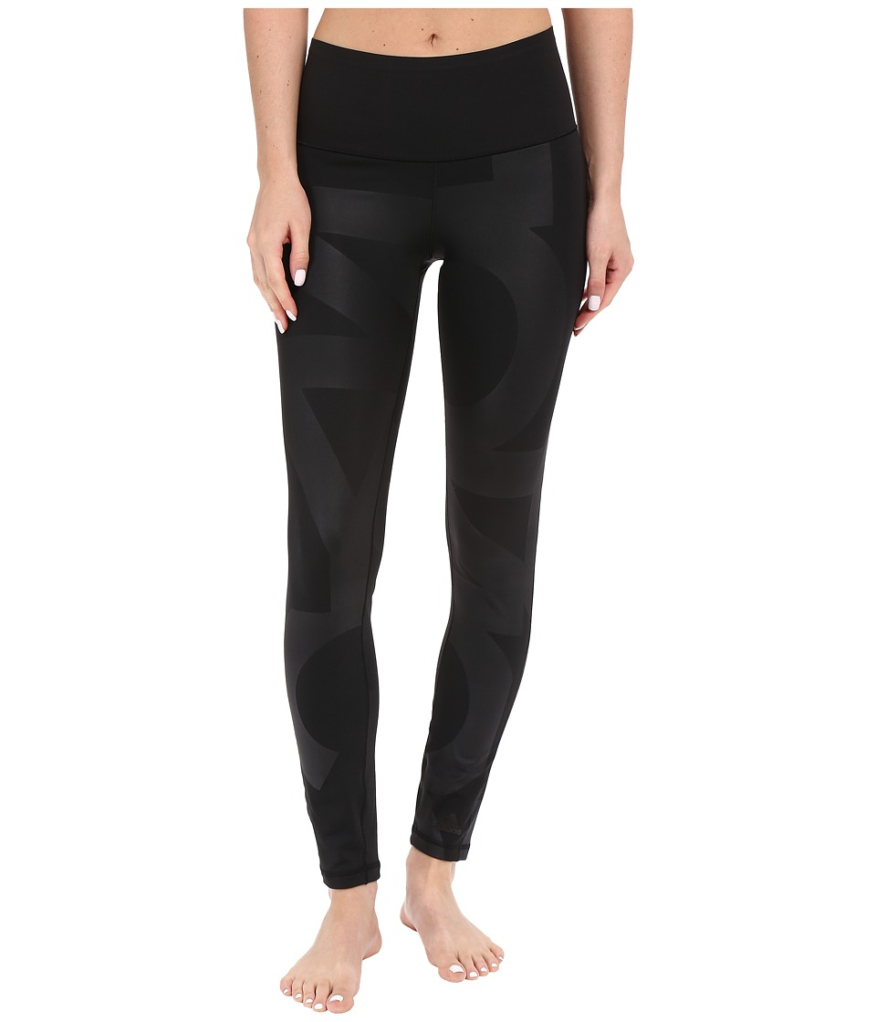 adidas - Wow High Rise Typo Tights (Black/Black) Women's Casual Pants