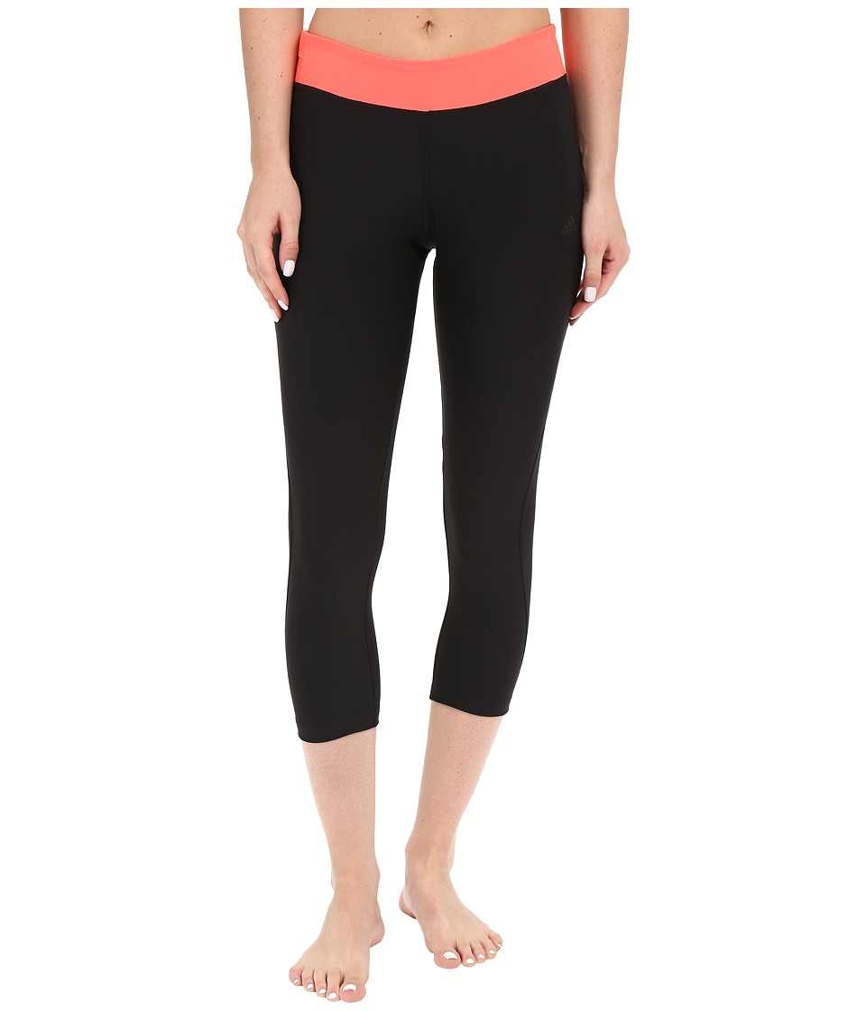 adidas - Ultimate 3/4 Tights (Black/Flash Red) Women's Casual Pants