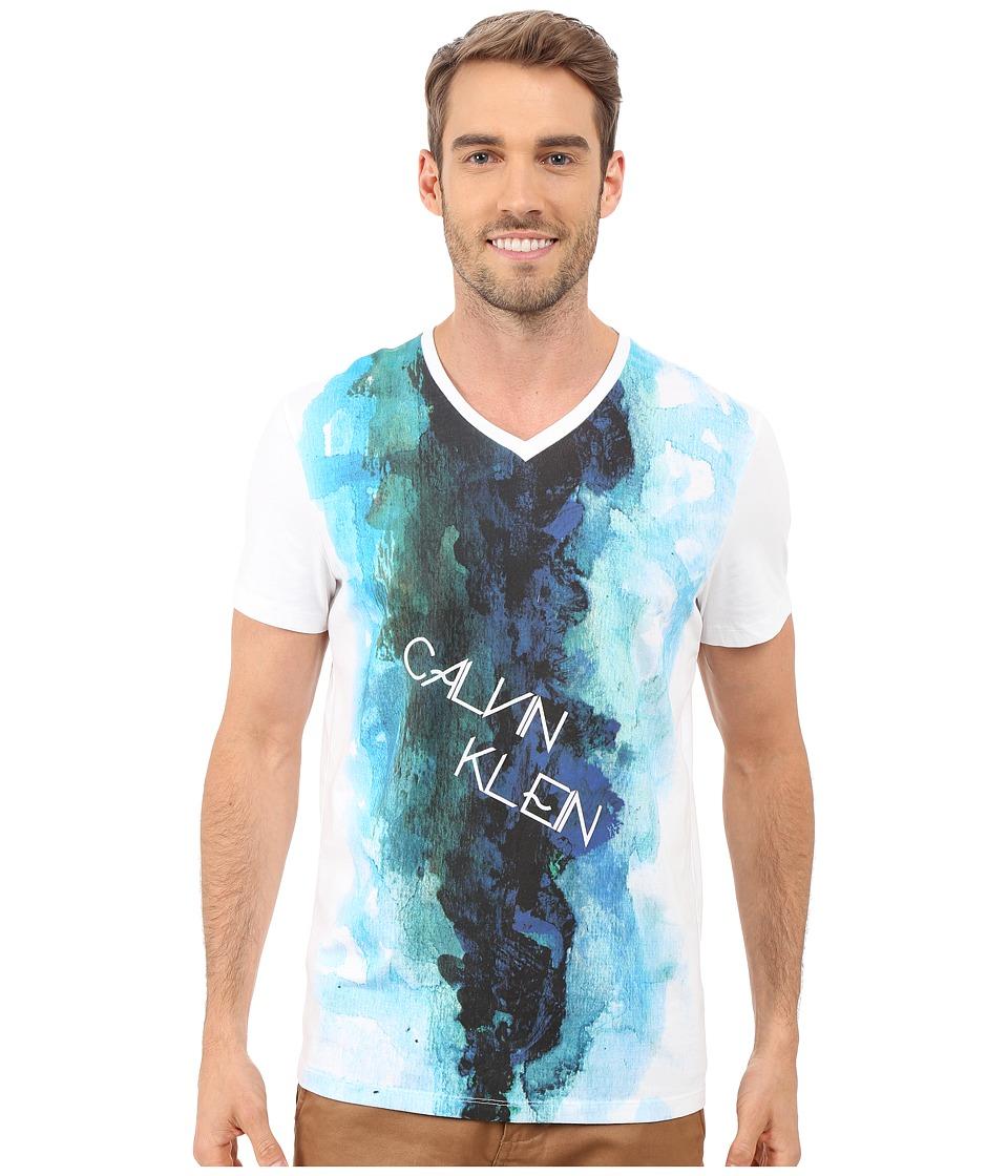 Calvin Klein - Short Sleeve Water Color Printed Tee (White) Men's T Shirt