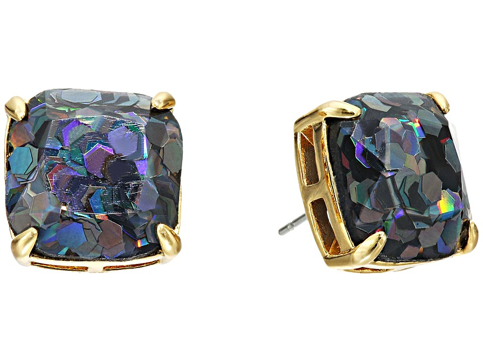 Kate Spade New York - Small Square Studs (Black Glitter) Earring