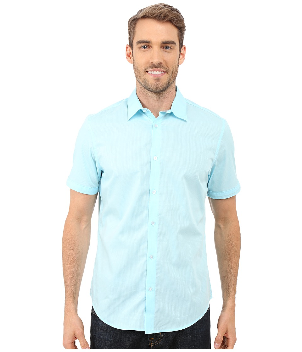 Calvin Klein - Short Sleeve Faded Dobby Plaid Woven Shirt (Blue Topaz) Men's Short Sleeve Button Up