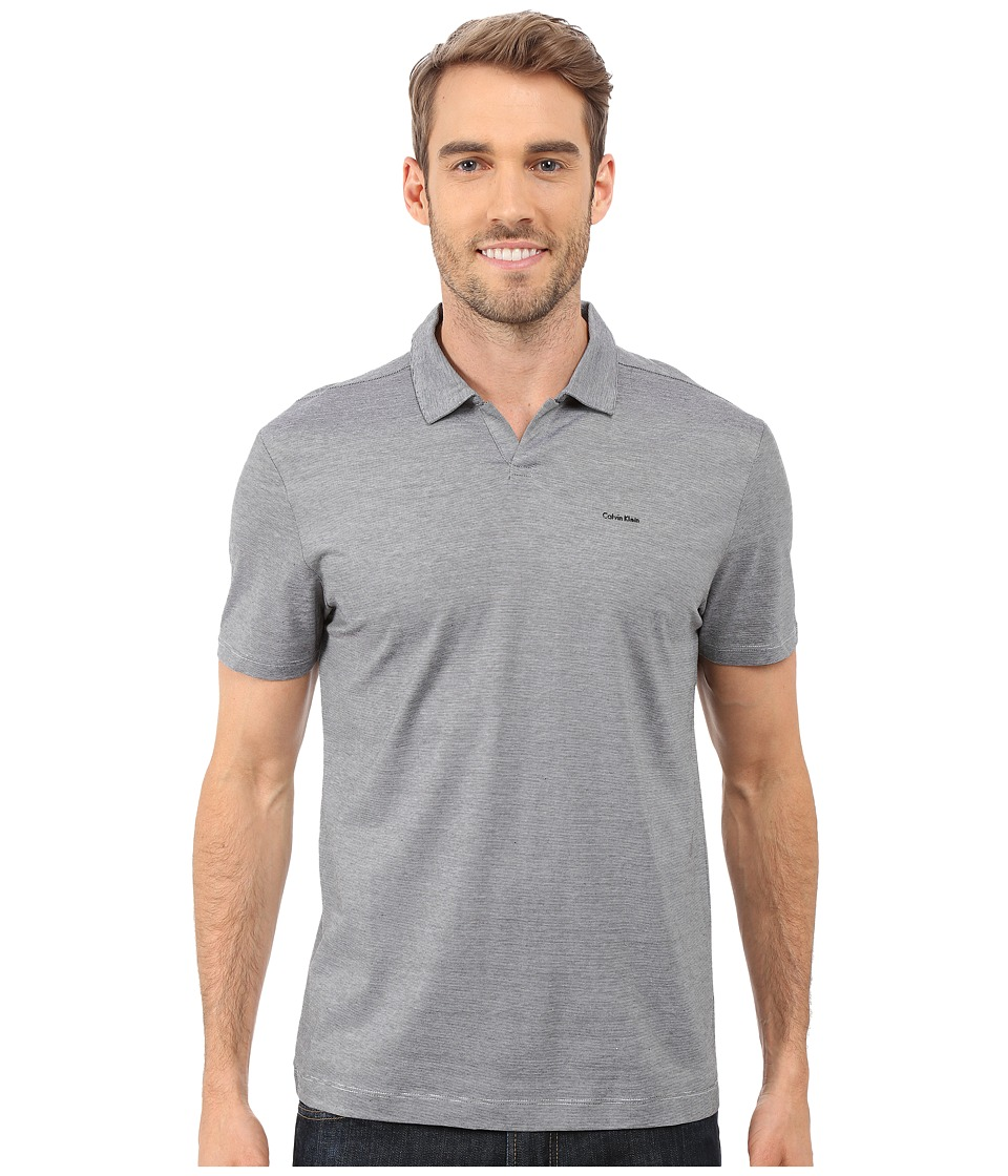 Calvin Klein - End on End Stripe Johnny Collar Polo (Black) Men's Clothing