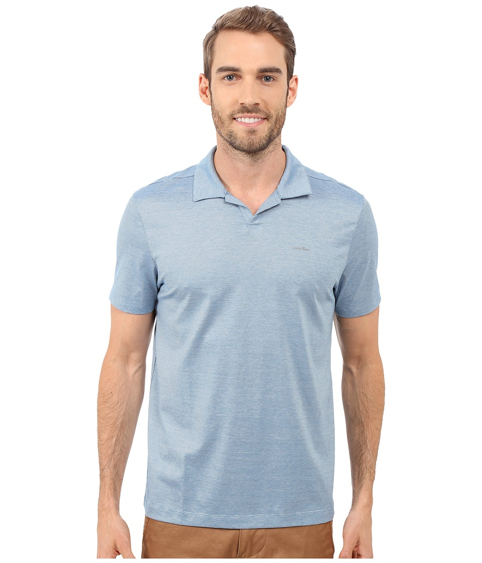 Calvin Klein - End on End Stripe Johnny Collar Polo (Seaport Blue) Men's Clothing