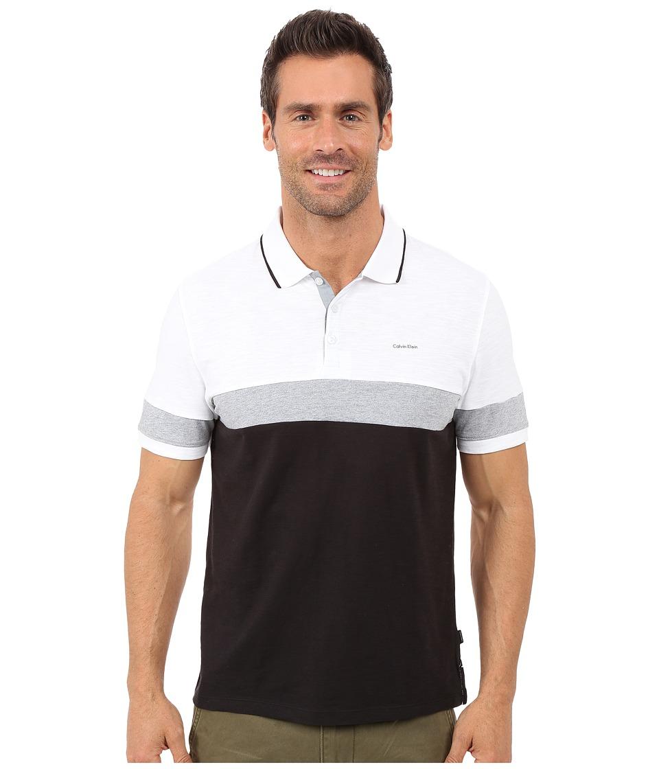 Calvin Klein - Liquid Cotton Short Sleeve Slub Blocked Polo (Black Combo) Men's Short Sleeve Pullover