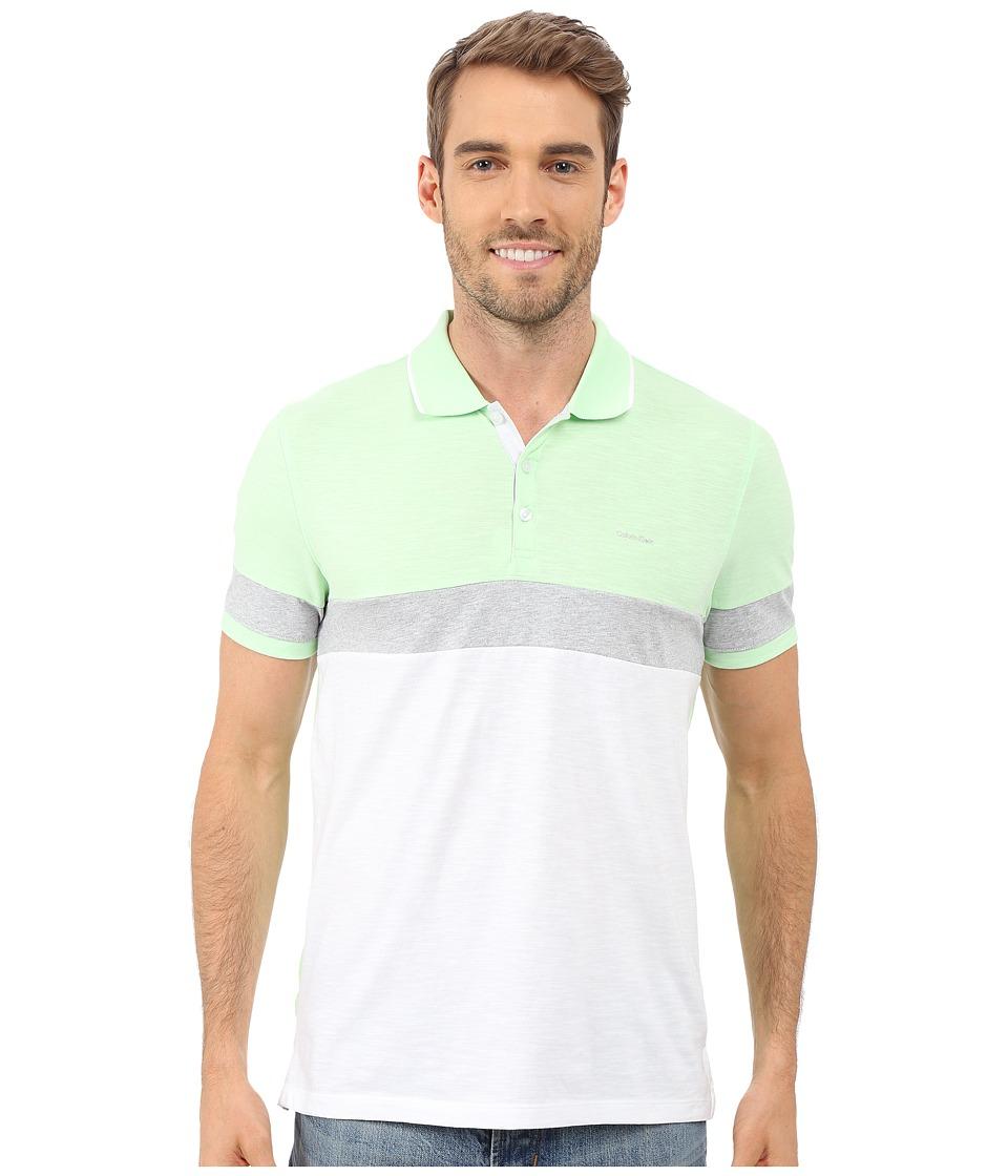 Calvin Klein - Liquid Cotton Short Sleeve Slub Blocked Polo (Patina Green) Men's Short Sleeve Pullover