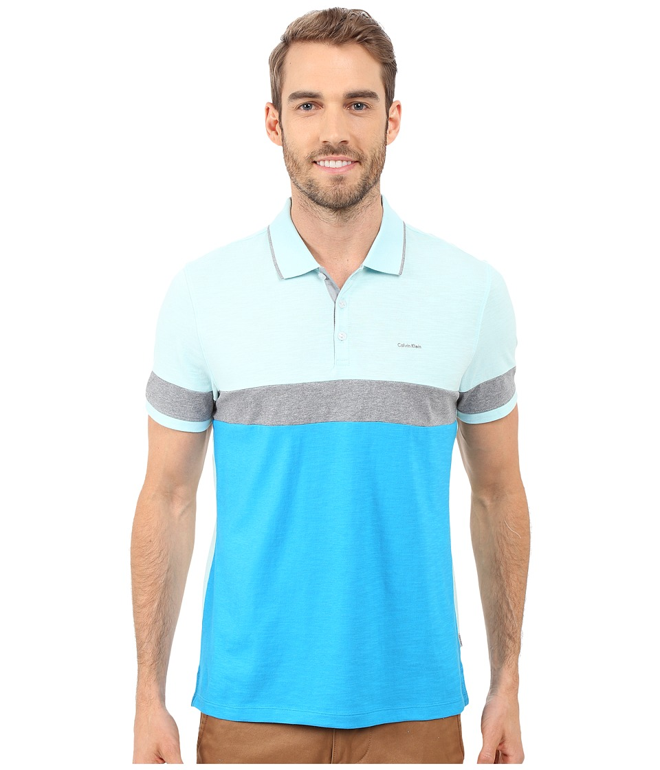 Calvin Klein - Liquid Cotton Short Sleeve Slub Blocked Polo (Methyl Blue) Men's Short Sleeve Pullover