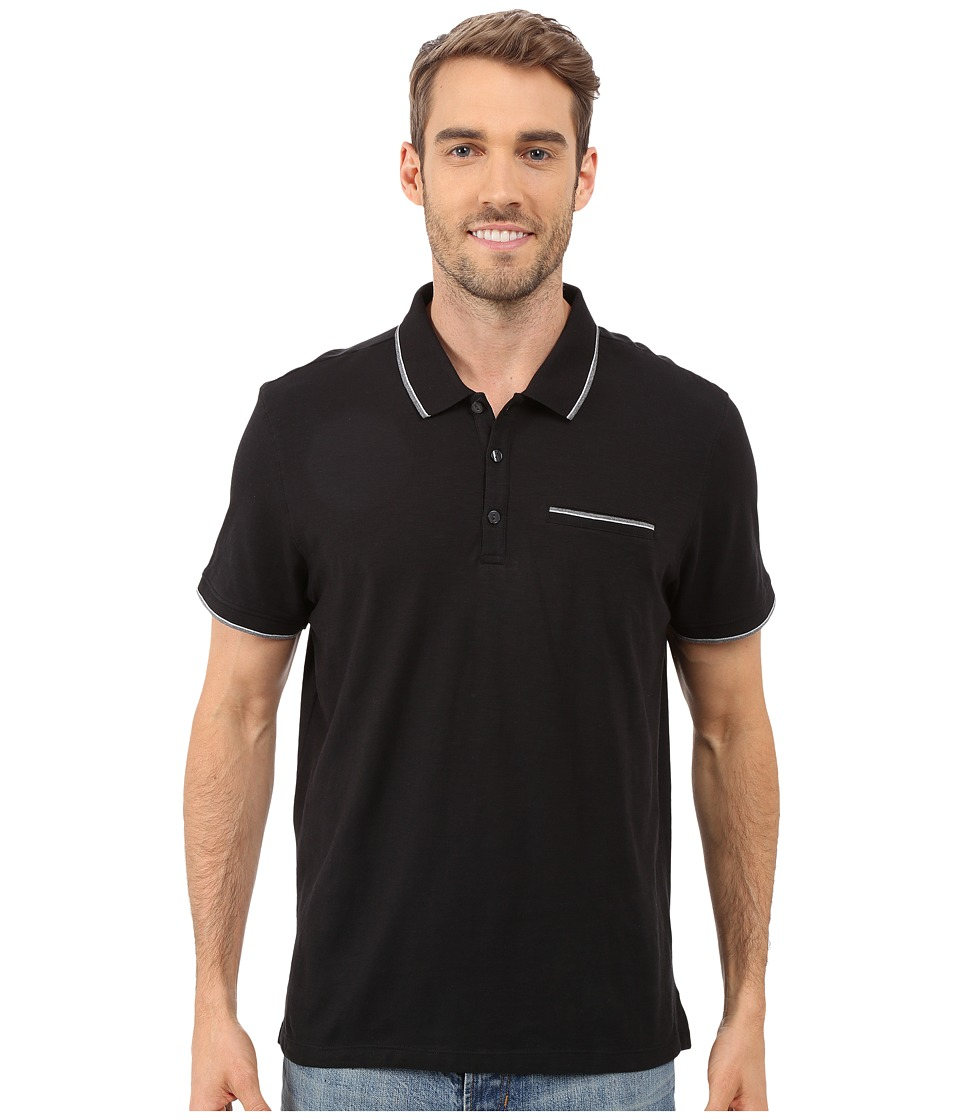 Calvin Klein - Liquid Cotton Short Sleeve Slub Tipped Polo (Black) Men's Short Sleeve Pullover