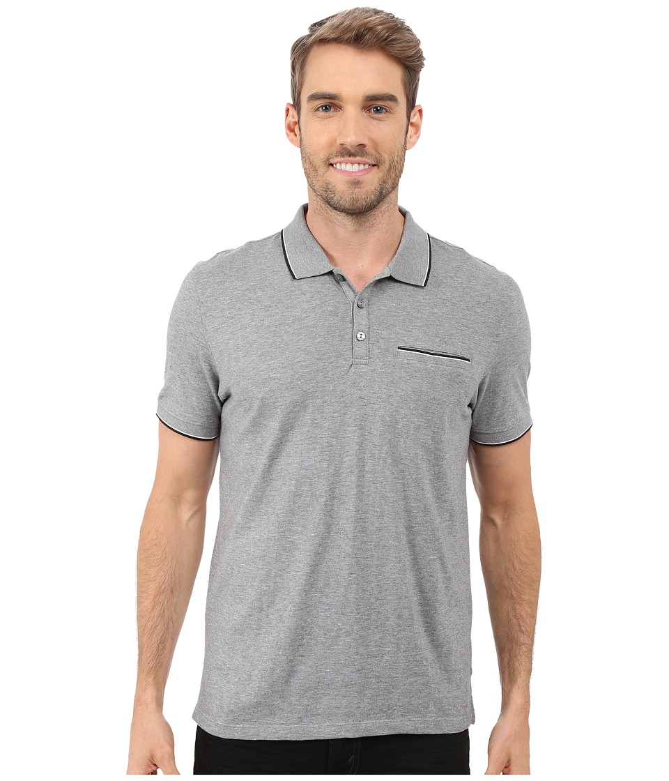 Calvin Klein - Liquid Cotton Short Sleeve Slub Tipped Polo (Medium Grey) Men's Short Sleeve Pullover