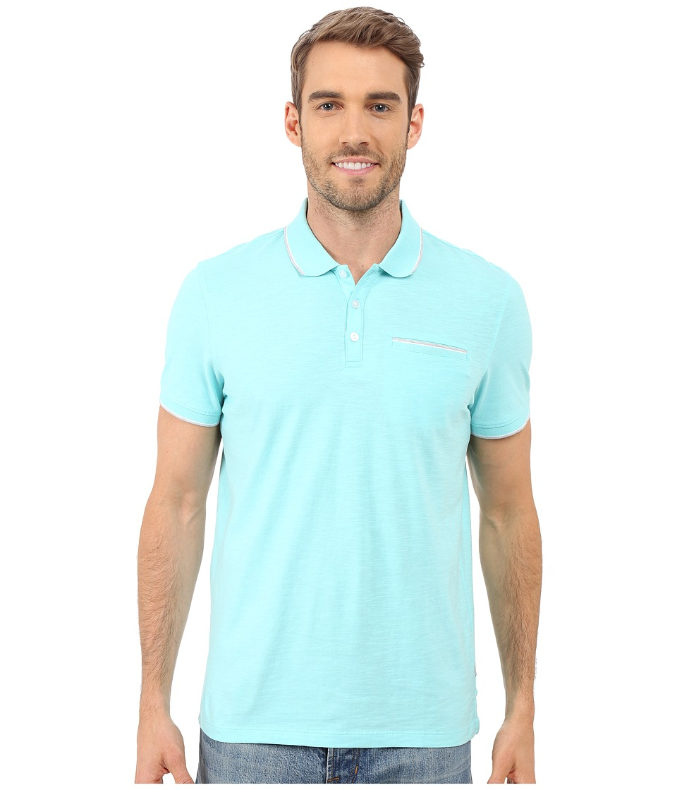 Calvin Klein - Liquid Cotton Short Sleeve Slub Tipped Polo (Aqua Splash) Men's Short Sleeve Pullover