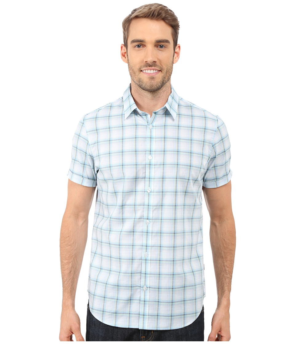Calvin Klein - Short Sleeve Yarn-Dye Fine Check Cuffed Woven Shirt (Patina Green) Men's Short Sleeve Button Up