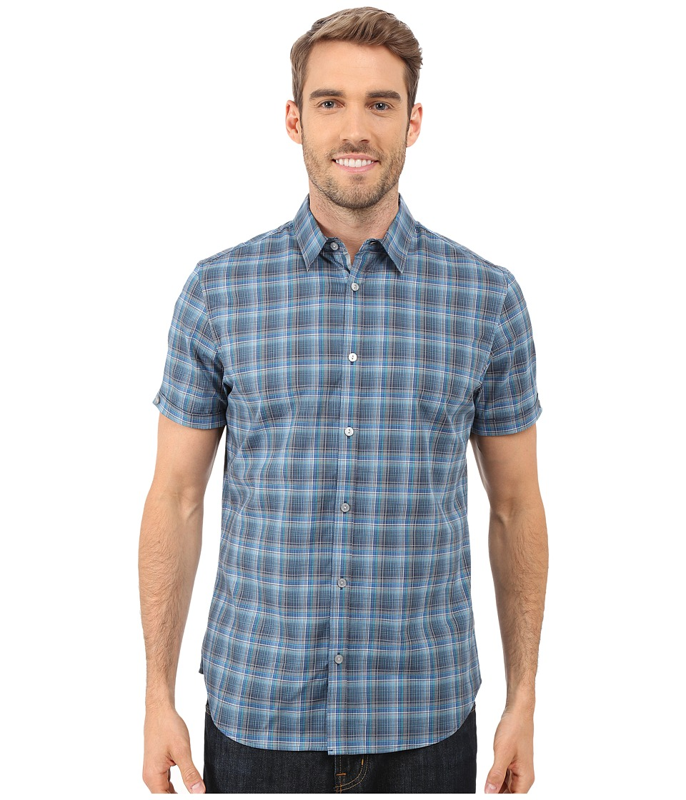 Calvin Klein - Short Sleeve Yarn-Dye Fine Check Cuffed Woven Shirt (Dress Blues) Men's Short Sleeve Button Up