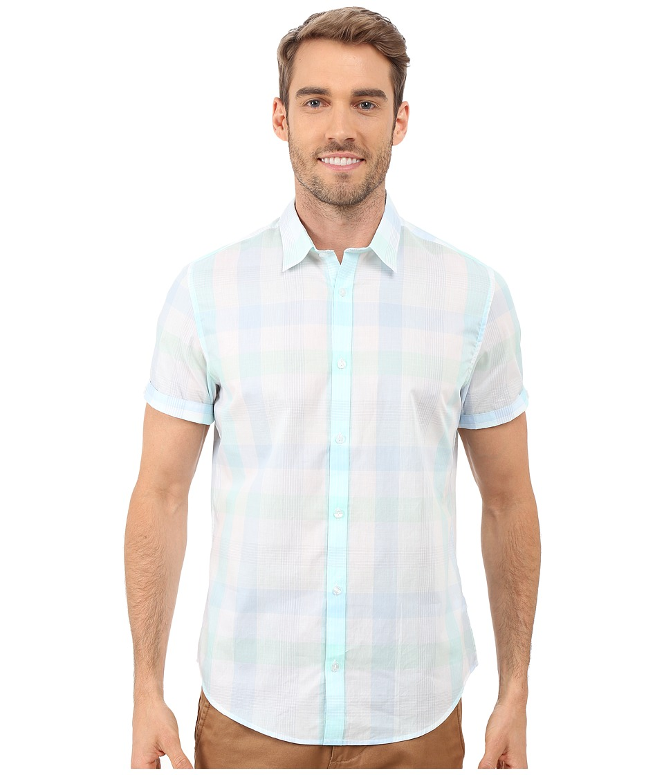 Calvin Klein - Short Sleeve Seersucker Voile Plaid Shirt (White) Men's Short Sleeve Button Up