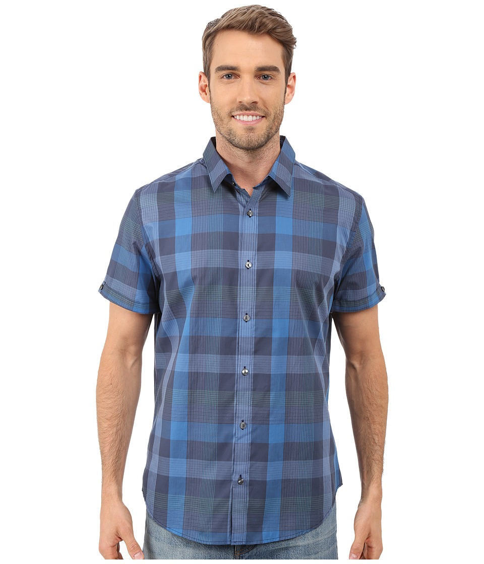 Calvin Klein - Short Sleeve Seersucker Voile Plaid Shirt (Dress Blues) Men's Short Sleeve Button Up