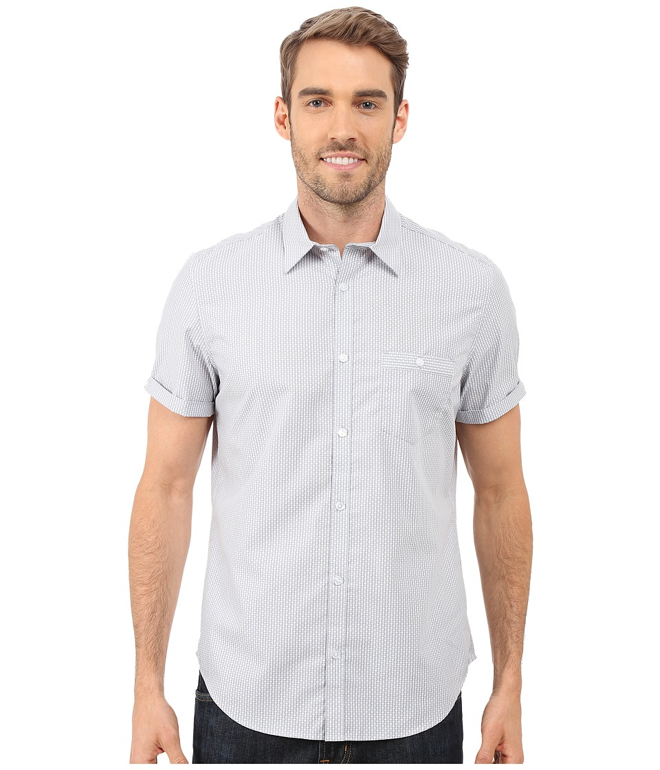 Calvin Klein - Short Sleeve Dot Dobby Stripe Woven Shirt (Sharkfin) Men's Short Sleeve Button Up