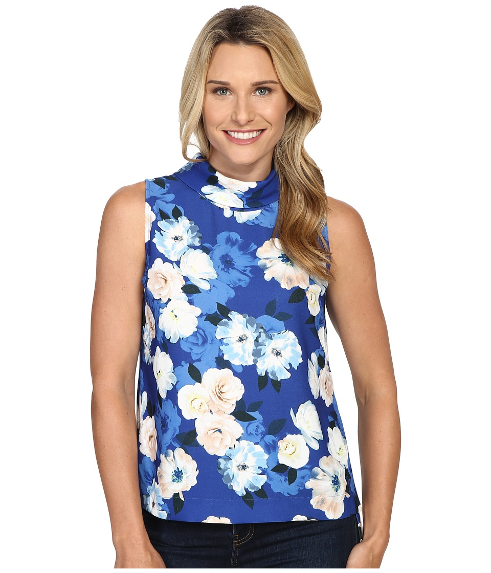 NYDJ - Mock Neck Shell (Kensington Floral Cerulean) Women's Clothing